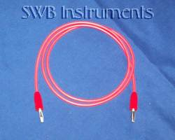 Banana jack silicone cable in red, 3 feet. Other lengths available.
